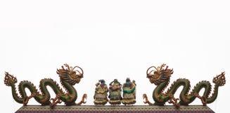 Pares de estatua del dragón en el fondo blanco Imagen de archivo libre de regalías