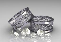 Pares de faixas de casamento do ouro branco da coroa de Christs Foto de Stock