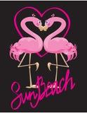 Pares de flamencos y del corazón rosados stock de ilustración
