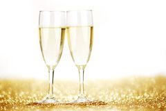 Pares de flautas de champanhe Fotografia de Stock Royalty Free