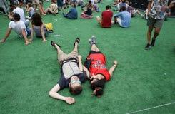 Pares de frequentadores do festival que colocam no festival de apreciação à terra da sonar Fotografia de Stock