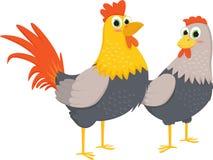 Pares de galos e de galinhas Fotografia de Stock