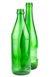 Pares de garrafas verdes vazias Fotografia de Stock Royalty Free