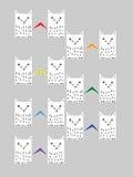 Pares de gatos com cores das caudas do arco-íris as caudas são touche Ilustração Royalty Free