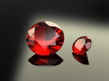 Pares de gemas redondas do rubi Foto de Stock