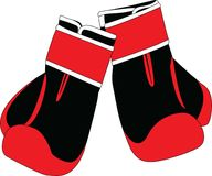 Pares de guantes de boxeo negros y rojos Fotografía de archivo libre de regalías