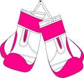 Pares de guantes de boxeo rosados blancos Foto de archivo libre de regalías