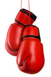 Pares de guantes de boxeo de cuero rojos Fotografía de archivo
