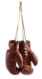 Pares de guantes de boxeo del cuero del marrón del vintage Imagenes de archivo