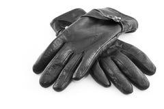 Pares de guantes de cuero posteriores aislados en blanco fotografía de archivo