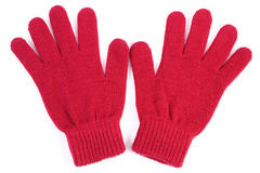 Pares de guantes de lana para la mujer en el fondo blanco Imagen de archivo libre de regalías