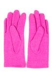 Pares de guantes de lana para la mujer en el fondo blanco Fotos de archivo libres de regalías