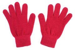 Pares de guantes de lana para la mujer en el fondo blanco Foto de archivo libre de regalías