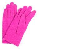 Pares de guantes de lana para la mujer en el fondo blanco, espacio de la copia para el texto Foto de archivo libre de regalías
