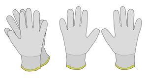 Pares de guantes de trabajo de la tela blanca Imagen de archivo libre de regalías