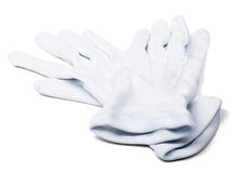 Pares de guantes del blanco de los mayordomos Fotos de archivo libres de regalías