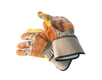 Pares de guantes que cultivan un huerto gruesos aislados en blanco Imagen de archivo libre de regalías