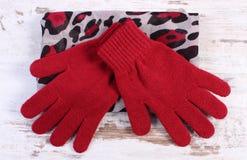 Pares de guantes y de mantón de lana para la mujer en viejo fondo de madera Imagenes de archivo