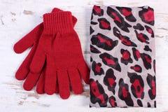Pares de guantes y de mantón de lana para la mujer en viejo fondo de madera Foto de archivo