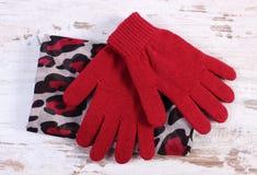 Pares de guantes y de mantón de lana para la mujer en viejo tablero Fotografía de archivo