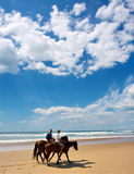 Pares de jinetes en la playa bajo los cielos dramáticos Fotografía de archivo