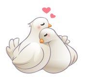 Pares de la abrazo de las palomas en amor Foto de archivo libre de regalías