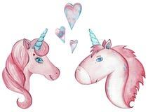 Pares de la acuarela de unicornios lindos aislados en el fondo blanco stock de ilustración