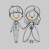 Pares de la boda con un ramo Foto de archivo libre de regalías