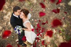 Pares de la boda debajo de una lluvia de pétalos color de rosa Fotos de archivo