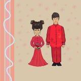 Pares de la boda del chino tradicional Vector del traje Fotografía de archivo