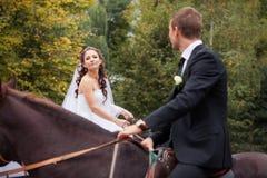 Pares de la boda en caballos Foto de archivo libre de regalías