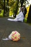 Pares de la boda en el parque Imagen de archivo libre de regalías