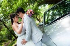 Pares de la boda en el parque Imágenes de archivo libres de regalías