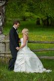 Pares de la boda en la puerta de madera Fotografía de archivo libre de regalías