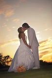 Pares de la boda en la puesta del sol Fotos de archivo libres de regalías