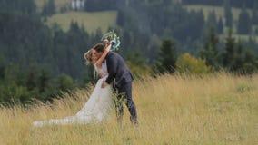 Pares de la boda en montañas almacen de video