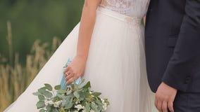 Pares de la boda en montañas almacen de metraje de vídeo