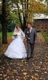 Pares de la boda en parque Foto de archivo libre de regalías