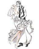 Pares de la boda, novia feliz y novio, Imágenes de archivo libres de regalías
