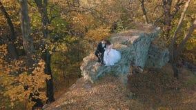 Pares de la boda Novio precioso y novia que sientan encendido en los restos de un edificio destruido en la familia feliz del bosq almacen de video