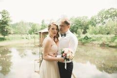 Pares de la boda que abrazan y que se besan en el puente Fotografía de archivo libre de regalías