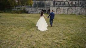 Pares de la boda que caminan antes de castillo almacen de metraje de vídeo