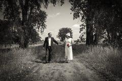 Pares de la boda que caminan de común acuerdo abajo de una trayectoria del país Foto de archivo