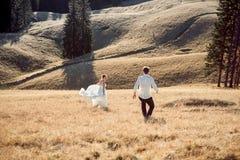 Pares de la boda que corren en el campo Día asoleado en montañas Imagen de archivo libre de regalías