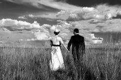 Pares de la boda que llevan a cabo las manos mientras que camina Fotografía de archivo libre de regalías