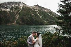 Pares de la boda que se besan cerca del lago en las monta?as de Tatra en Polonia Morskie Oko D?a de verano hermoso imagenes de archivo