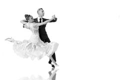 Pares de la danza de Ballrom en una actitud de la danza aislados en el bachground blanco Fotos de archivo