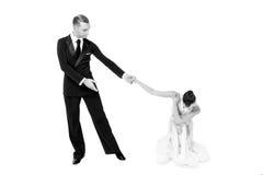 Pares de la danza de Ballrom en una actitud de la danza aislados en el bachground blanco Imagen de archivo libre de regalías