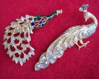 Pares de la dimensión de una variable del pavo real de las decoraciones Fotografía de archivo libre de regalías