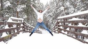 Pares de la diversión del invierno juguetones junto durante vacaciones de las vacaciones de invierno afuera en bosque de la nieve almacen de video